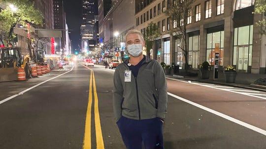 Angelo State nursing alum Cole Strain in New York, where he felt called to help battle the COVID-19 virus.