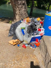 Piles of trash were found in Christoval's Pugh Park Monday, after over 1,000 people visited South Concho River over the weekend, according to a post by the city.