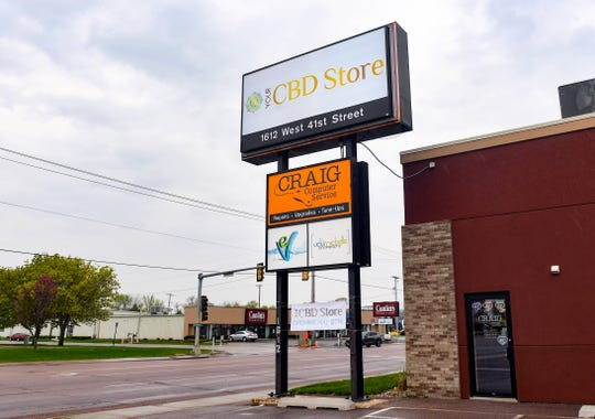 The sign for Your CBD stands outside the building before opening on Monday, May 4, in Sioux Falls.
