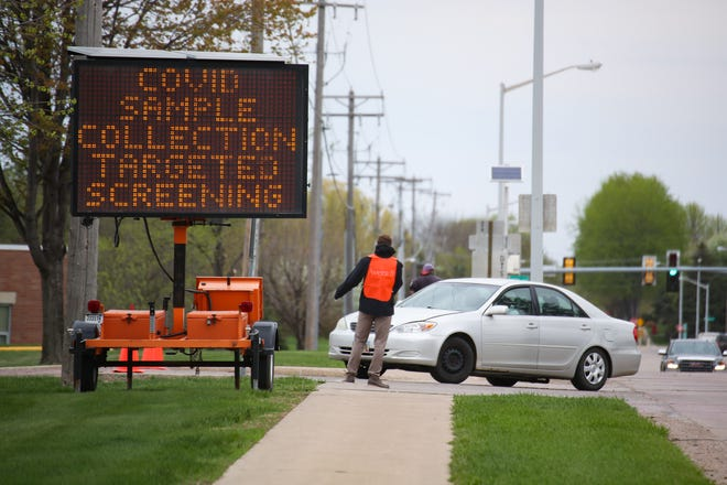 A coronavirus testing site for Smithfield employees is set up in the Washington High School parking lot on Monday, May 4, in Sioux Falls.
