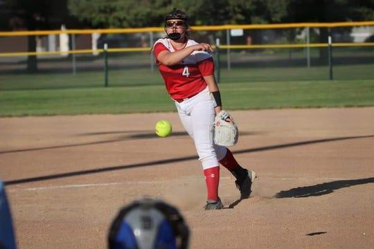 Alika Csordacsics pitches for Brandon Valley during the 2019 softball season.