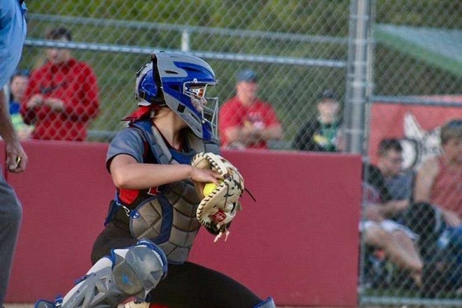 Catcher Kailee Craig during the 2019 softball season for Brandon Valley.