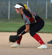 Andrea Cain  plays in the infield during the 2019 high school softball season.