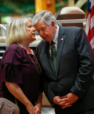 Teresa Parson leans in to talk with her husband Missouri Governor Mike Parson at Bass Pro Shops on Monday, May 4, 2020.