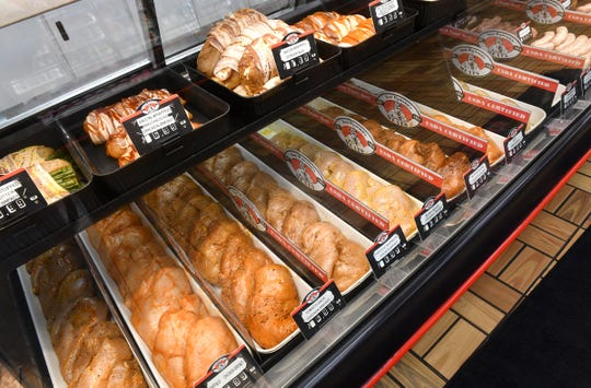 Display cases are filled with chicken, pork and beef at Von Hanson's Meat Market Monday, May 4, 2020 in Waite Park.