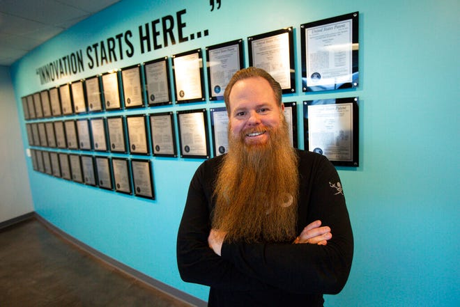 In this March 9, 2020, photo, Damien Patton, Banjo founder and CEO, poses for a portrait at the company's office in South Jordan, Utah. Utah's attorney general has suspended a $20.7 million contract with a technology company using government surveillance data to develop a crime-detection program amid reports its founder, Patton, once belonged to a white supremacist group and was involved in a drive-by shooting. Attorney General Sean Reyes said Tuesday, April 28, that no one in his office was aware of Banjo founder Patton's past when it signed the contract. (Ivy Ceballo/The Deseret News via AP)