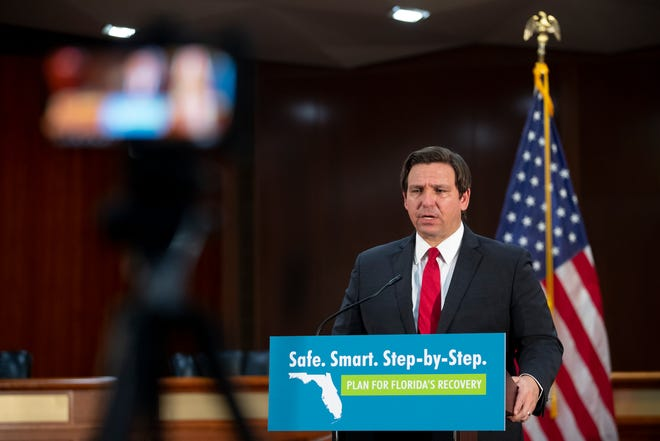 Gov. Ron DeSantis speaks during a press conference where he discussed Florida's troubled unemployment system at the Capitol Monday, May 4, 2020.