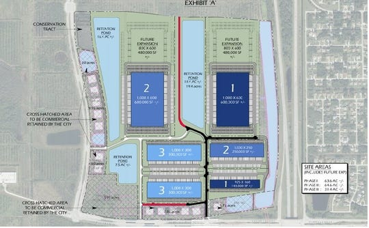 Map showing how the Sansone Group proposes to develop 300 acres north of Becker Road and west of Interstate 95 in Port St. Lucie.