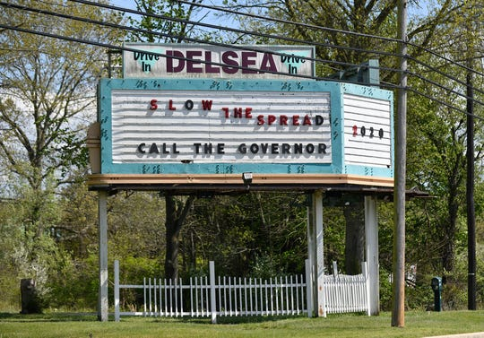 The sign outside the Delsea Drive-In Theatre in Vineland, pictured here on Monday, May 4, 2020.