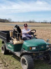 Sunny joined Susan for the first cart ride without Bob.