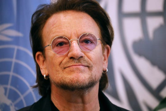 Bono meets with Secretary-General of the United Nations António Guterres on Feb. 11, 2020 in New York City.