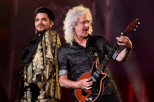 Adam Lambert, left, and Brian May, of Queen, perform at the Global Citizen Festival in New York on Sept. 28, 2019.
