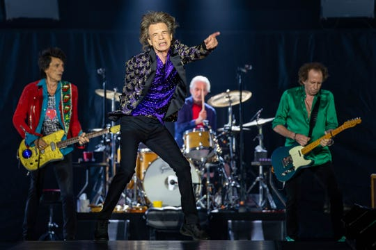 "Members of The Rolling Stones – Ronnie Wood, Mick Jagger, Charlie Watts and Keith Richards – during their ""No Filter"" Tour on July 27, 2019 in Houston, Texas."