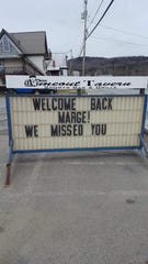 A restaurant in Canaan put up this sign after Marge Harvey was reinstated by UPS.