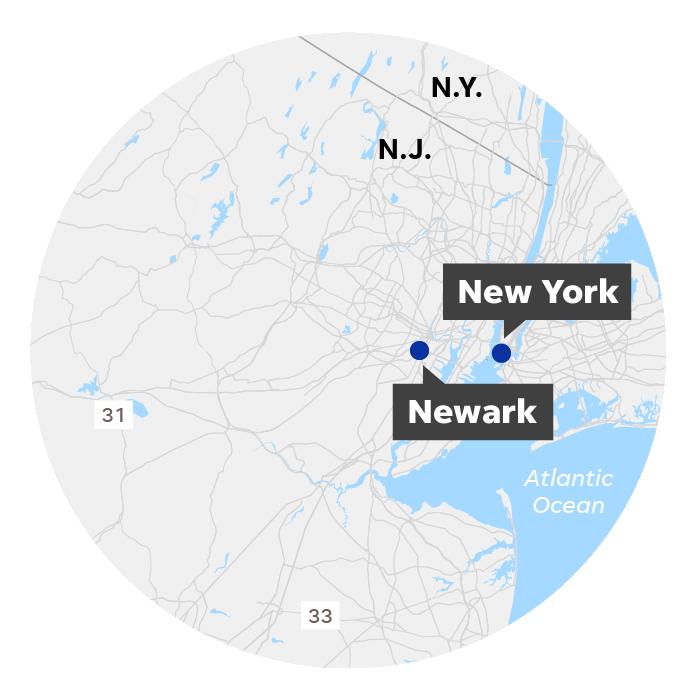 Newark, NJ and New York, NY locator map