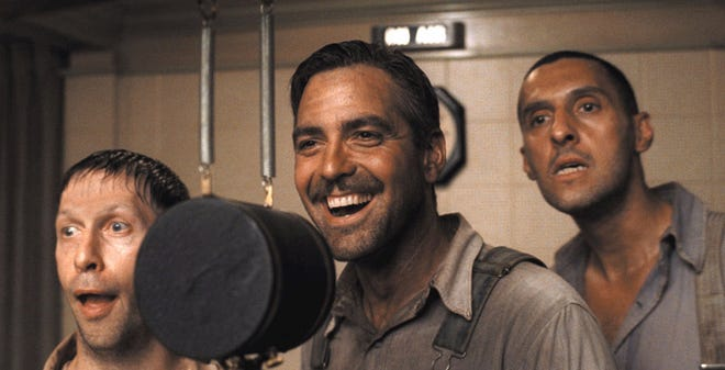 """Tim Blake Nelson, left, George Clooney and John Turturro, right, portray three prisoners who record a song that becomes a hit while they're on the run from the law in the movie """"O Brother Where Art Thou?"""""""