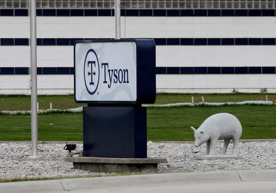 A sign stands in front of the Tyson Foods plant in Waterloo, Iowa.