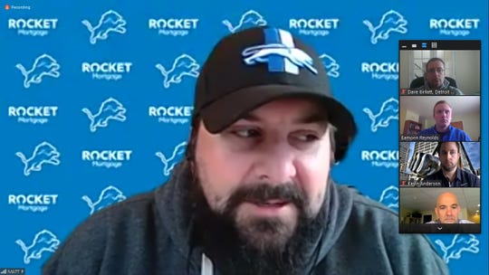 Detroit Lions coach Matt Patricia speaks with members of the media on a Zoom video conference call on Tuesday, May 5, 2020.