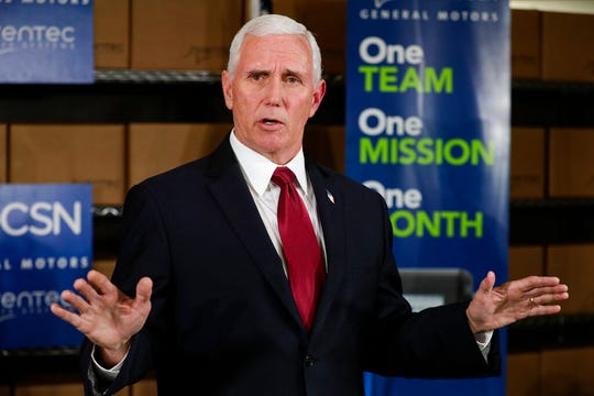 Vice President Mike Pence takes questions following a visits to the General Motors/Ventec ventilator production facility in Kokomo, Ind., Thursday, April 30, 2020.