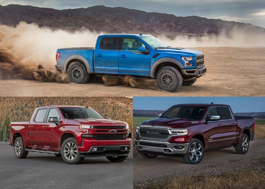 The 2020 Ford F-150, top, 2020 Chevy Silverado, left, and 2020 Ram 1500 Limited are shown.