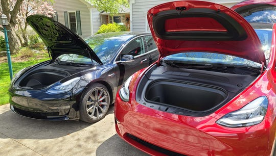 Frunks galore. The Tesla Model Y (right) and Model 3 both have front trunk storage.