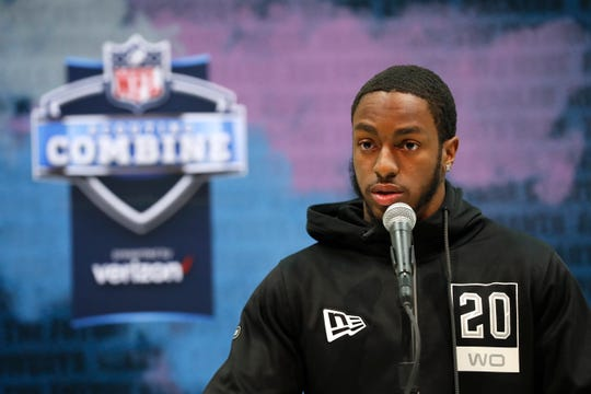 Penn State wide receiver K.J. Hamler speaks during a news conference at the NFL Combine.
