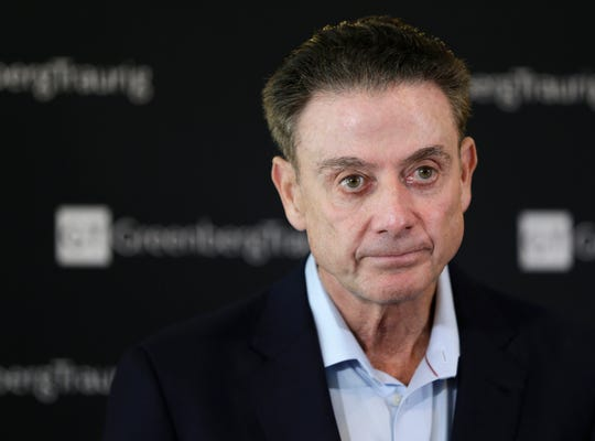 In this Feb. 21, 2018, file photo, former Louisville basketball Hall of Fame coach Rick Pitino talks to reporters during a news conference in New York.