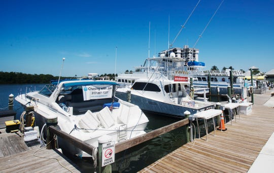 Boats used for charter services including fishing and sunset cruises and other uses sit at Getaway Marina on San Carlos Boulevard on the way to the beach. Like most other industries, the COVID-19 pandemic has hit charters really hard.