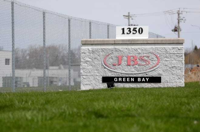 JBS Packerland beef plant pictured on May 5, 2020, in Green Bay, Wis.