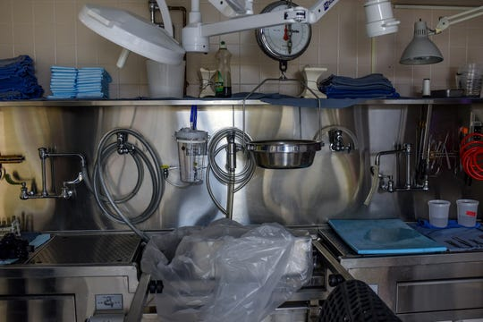 A detailed look at one of the autopsy stations at the morgue on Monday, May 4, 2020, at Sparrow Hospital in Lansing.