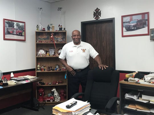 Bastrop Fire Department Chief Thomas Crowder in his office at Bastrop City Hall.