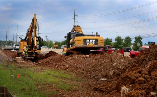 Road construction continues to widen Sam Ridley Parkway near Potomac Place, in Smyrna, on Monday May 4, 2020.