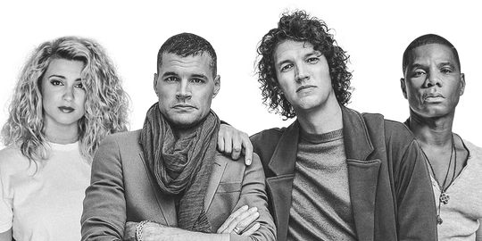 Tori Kelly (left), for KING & COUNTRY members Joel Smallbone and Luke Smallbone, and Kirk Franklin.
