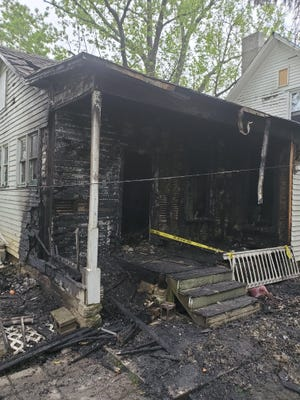 A fire at a home on South Fourth Street sent a Newark woman to a Columbus hospital on Tuesday, May 5, 2020.