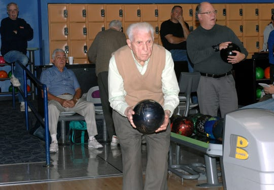 Quentin Wiest bowling on his 99th birthday.
