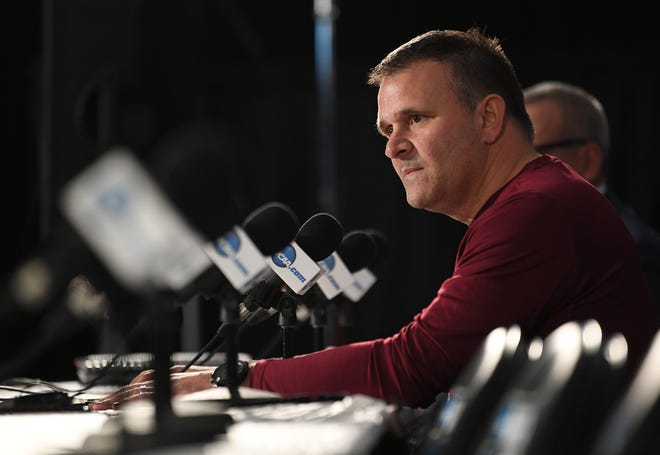 March 15, 2018; San Diego, CA, USA; New Mexico State Aggies head coach Chris Jans speaks to media during the practice day before the first round of the 2018 NCAA Tournament at Viejas Arena. Mandatory Credit: Jake Roth-USA TODAY Sports