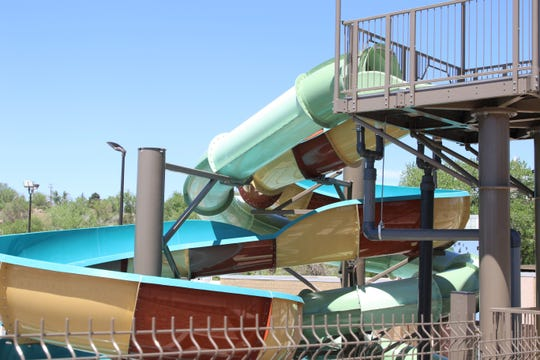 The new water slides at Bisti Bay are pictured, Tuesday, May 5, 2020, in Farmington.