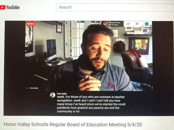 Huron Valley Superintendent Paul Salah speaks during a virtual school board meeting May 4, 2020 during which he recognized teachers and also recommended the permanent closure of leisure pools in the district.
