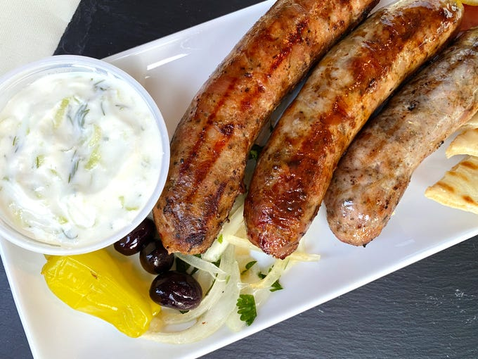 Sausage plate with hot, mild and sweet sausage from Xanthi Greek Food in Avondale.