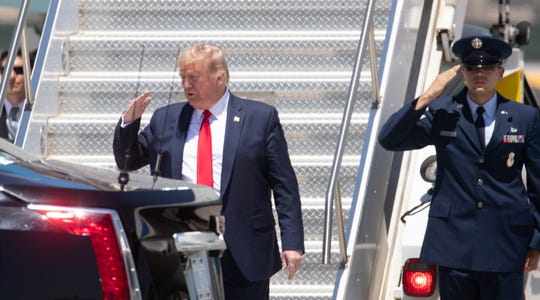 President Donald Trump walks off Air Force One on May 5, 2020, after arriving at Phoenix Sky Harbor International Airport.