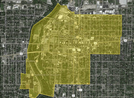 This map shows the boundaries of Richmond's Main Street designation.