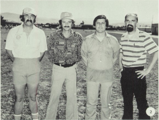 Norm Costa (second from right), shown here in 1979, coached the Chieftains for more than two decades. May 4, 2020.