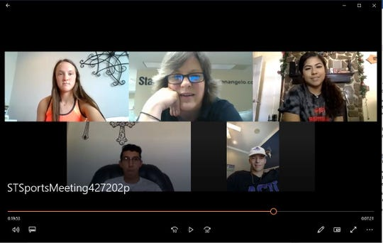 Standard-Times sports writer Amy McDaniel, top center, conducts a video conference discussion among area athletes including Wall's Shaylee Shiller, top, left, Reagan County's Aaliyah Portales, top right, Sonora's David Delgado, bottom left, and Brady's Jack Marshall, bottom right.