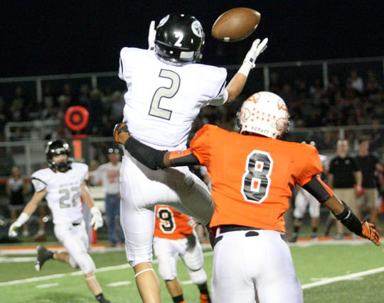 Connor Copley of Water Valley grabs a long reception near the end zone against Robert Lee in 2013.
