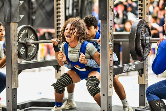 Reagan County senior Aaliyah Portales competes in the squat lift during powerlifting competition. She was hoping to compete at the state meet for the third time in her career before COVID-19 pandemic precautions canceled the meet.