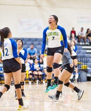 Reagan County junior Valeria Ortiz celebrates a point during volleyball season. Ortiz was hoping to return to the regional track and field meet as part of the Lady Owls 4x100 relay until the COVID-19 pandemic forced the cancellation of all spring sports.