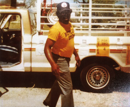 J.B. Hall is shown in this 1981 photo wearing a shirt in support of Dudra Butler's 1981 City Council campaign.