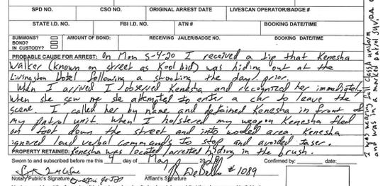 Pictured is the probable cause for arrest summary on an arrest affidavit which charges Kenesha Walker with resisting arrest on Monday, May 4, 2020.