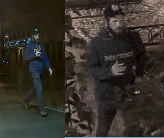 Police released photos and video on Tuesday afternoon of a person of interest connected to the SculptureWalk vandalism in downtown Sioux Falls. Anyone with information can call police at 605-367-7000.