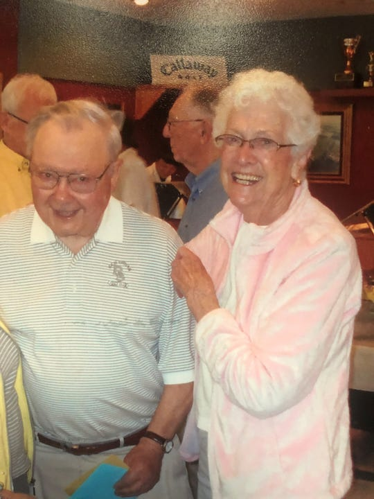 Dorothy Zumwalde andLinus Guggenberger at a party honoring the couple at Rich-Spring Golf Club in Cold Spring.